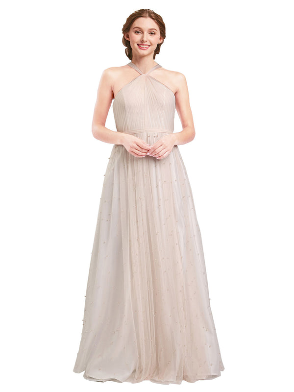 Affordable Bridesmaid Dresses Nora Long A-Line Halter Tulle Pink Bridesmaid Dress Floor Length Sleeveless 174044