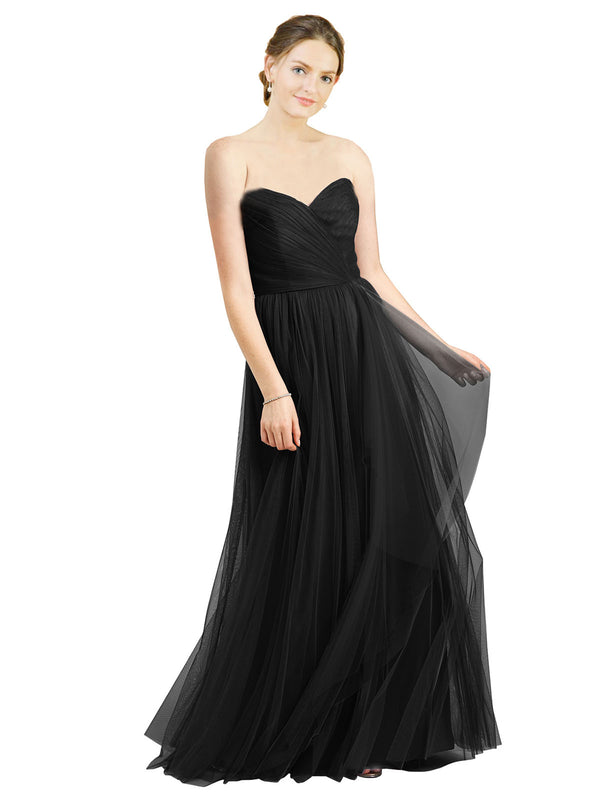 Affordable Bridesmaid Dresses Aubrey Long A-Line Sweetheart Tulle Black Bridesmaid Dress Floor Length Sleeveless 174046