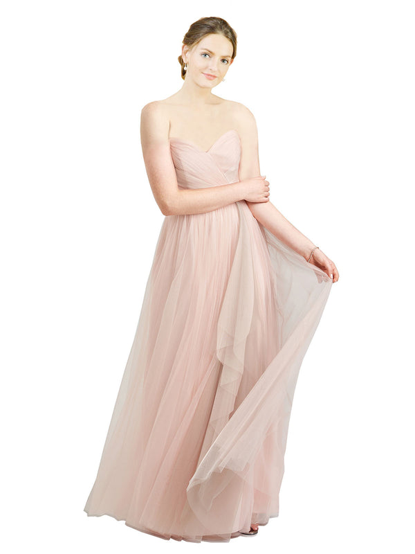 Affordable Bridesmaid Dresses Aubrey Long A-Line Sweetheart Tulle Pink Bridesmaid Dress Floor Length Sleeveless 174046