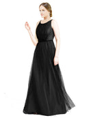 Affordable Bridesmaid Dresses Hannah Long A-Line Boat Neck Tulle Black Bridesmaid Dress Floor Length Sleeveless 174047