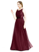 Affordable Bridesmaid Dresses Hannah Long A-Line Boat Neck Tulle Burgundy Bridesmaid Dress Floor Length Sleeveless 174047