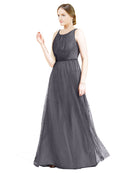 Affordable Bridesmaid Dresses Hannah Long A-Line Boat Neck Tulle Slate Grey 127 Bridesmaid Dress Floor Length Sleeveless 174047