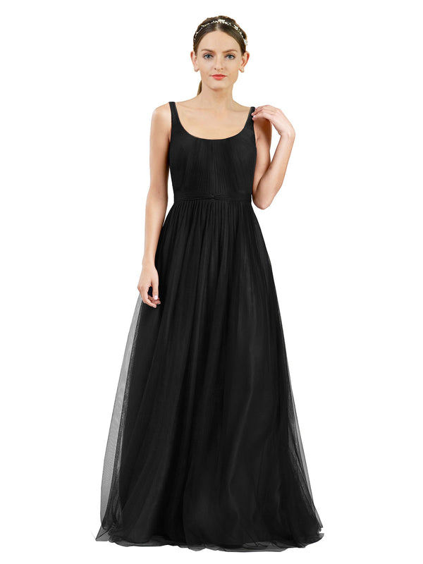 Affordable Bridesmaid Dresses Lily Long A-Line Scoop Tulle Black Bridesmaid Dress Floor Length Open Back Sleeveless 174048
