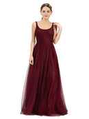Affordable Bridesmaid Dresses Lily Long A-Line Scoop Tulle Burgundy Bridesmaid Dress Floor Length Open Back Sleeveless 174048
