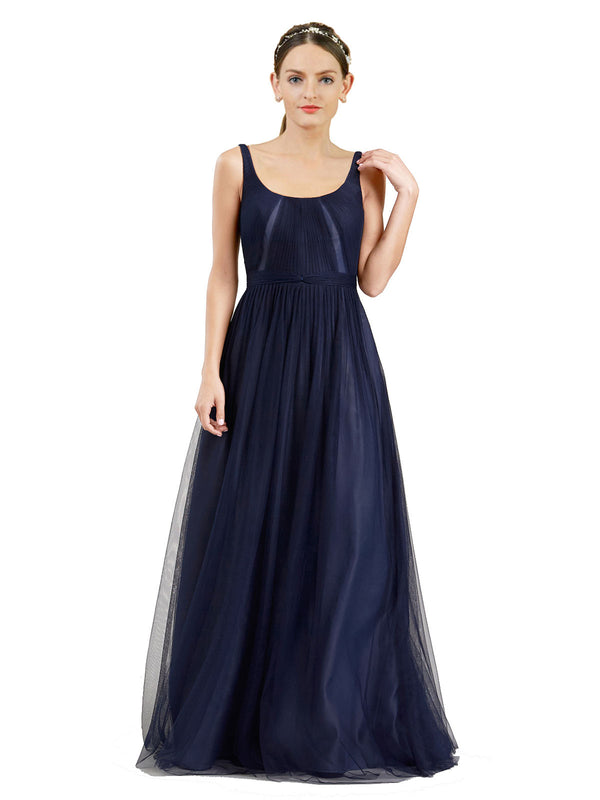 Affordable Bridesmaid Dresses Lily Long A-Line Scoop Tulle Navy Blue 21 Bridesmaid Dress Floor Length Open Back Sleeveless 174048