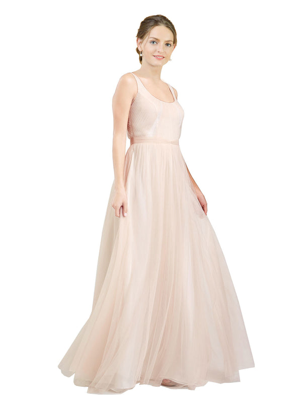 Affordable Bridesmaid Dresses Lily Long A-Line Scoop Tulle Pink Bridesmaid Dress Floor Length Open Back Sleeveless 174048