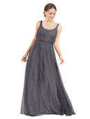 Affordable Bridesmaid Dresses Lily Long A-Line Scoop Tulle Slate Grey 127 Bridesmaid Dress Floor Length Open Back Sleeveless 174048