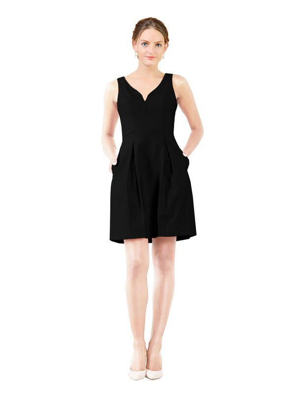 Affordable Bridesmaid Dress Stella Short A-Line V-Neck Satin Black Bridesmaid Dress Knee Length Sleeveless 174057