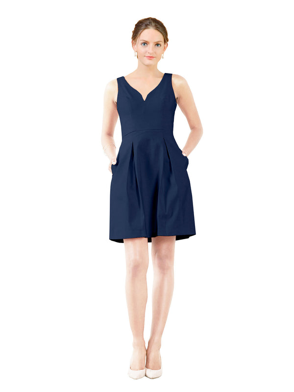 Affordable Bridesmaid Dress Stella Short A-Line V-Neck Satin Dark Navy Bridesmaid Dress Knee Length Sleeveless 174057