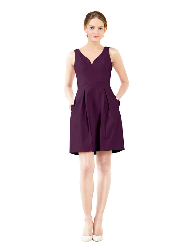 Affordable Bridesmaid Dress Stella Short A-Line V-Neck Satin Grape Bridesmaid Dress Knee Length Sleeveless 174057