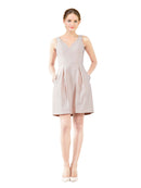 Affordable Bridesmaid Dress Stella Short A-Line V-Neck Satin Lavender Blush Bridesmaid Dress Knee Length Sleeveless 174057