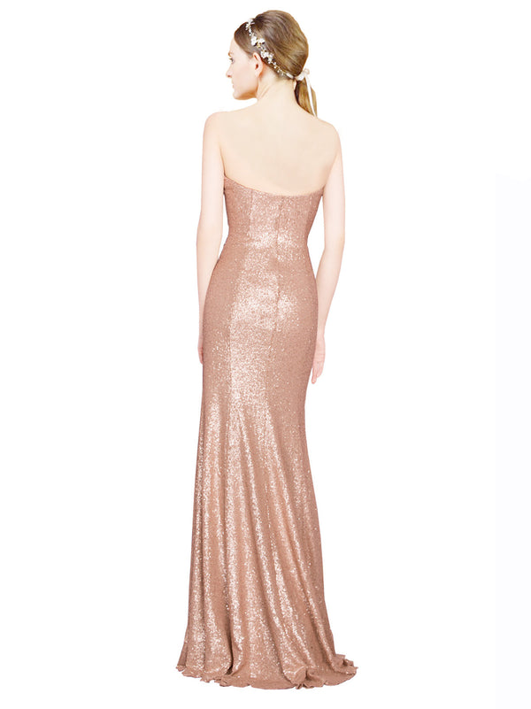 Affordable Nalani Long A-Line Sweetheart Sequin Rose Gold Bridesmaid Dress 174317