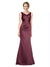 Affordable Isabela Long A-Line V-Neck Satin Burgundy 12# Bridesmaid Dress 174328