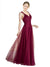 Affordable Claudia Long A-Line V-Neck Tulle Burgundy Bridesmaid Dress 174335