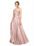 Affordable Aliana Long A-Line Strapless Sweetheart Stretch Satin Pink 11# Bridesmaid Dress 174340