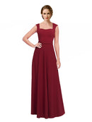 Affordable Long Selene A-Line Queen Anne and Strapless Burgundy Bridesmaid Dress