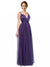 Affordable Long Joslyn A-Line Sweetheart and Spaghetti Straps and Bateau Purple Bridesmaid Dress