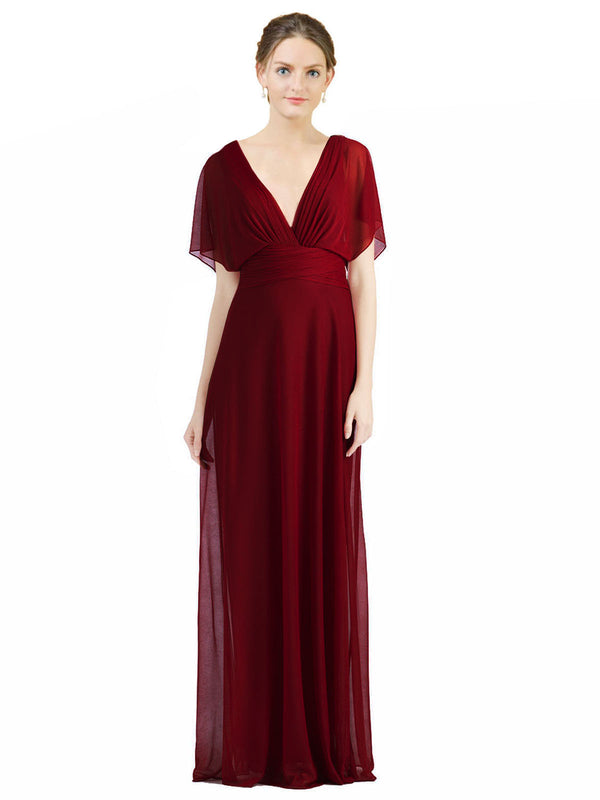 Affordable Long Zion A-Line V-Neck Burgundy Bridesmaid Dress