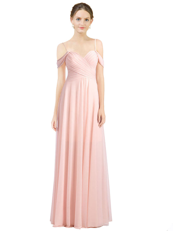 Affordable Long Breanna A-Line Sweetheart and Spaghetti Straps and Off the Shoulder Ice Pink Bridesmaid Dress