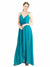 Affordable Long Melania A-Line V-Neck and Spaghetti Straps Turquoise Bridesmaid Dress