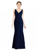 Affordable Long Estrella Mermaid V-Neck Waterfall Bridesmaid Dress