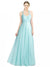 Affordable Long Kaya A-Line Sweetheart and Spaghetti Straps Mint Green Bridesmaid Dress