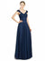 Affordable Long Harmoni A-Line Sweetheart and V-Neck Dark Navy Bridesmaid Dress
