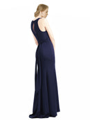 Affordable Long Mylah Sheath High Neck and Scoop Navy Blue Bridesmaid Dress