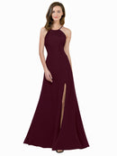 Affordable Themi Bridesmaid Dress in Burgundy Gold Color