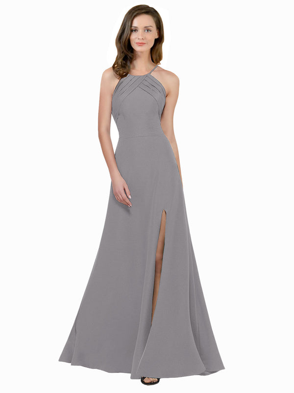 Affordable Themi Bridesmaid Dress in Oyster Silver Color