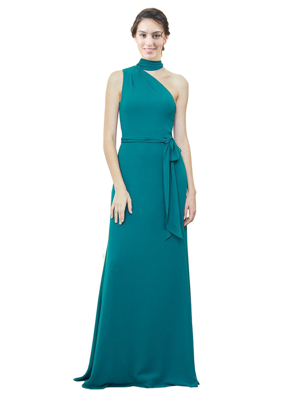 Affordable Long Chiffon A-Line One Shoulder Sleeveless Bridesmaid Dress Crystal
