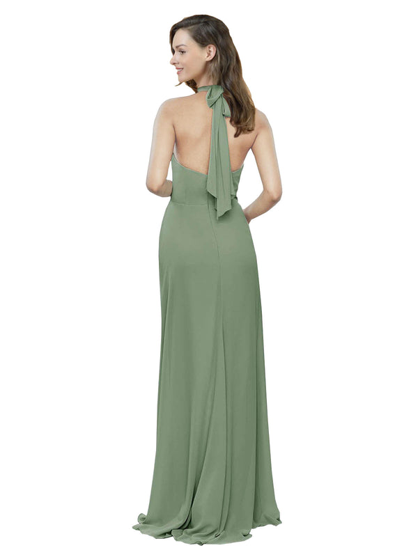 Affordable Long Chiffon A-Line High Neck Halter Sleeveless Bridesmaid Dress Stephany