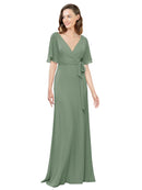 Affordable Long Chiffon A-Line V-Neck Short Sleeves Bridesmaid Dress Bergin