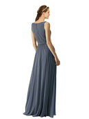 Affordable Long Chiffon A-Line V-Neck Sleeveless Bridesmaid Dress Shalene