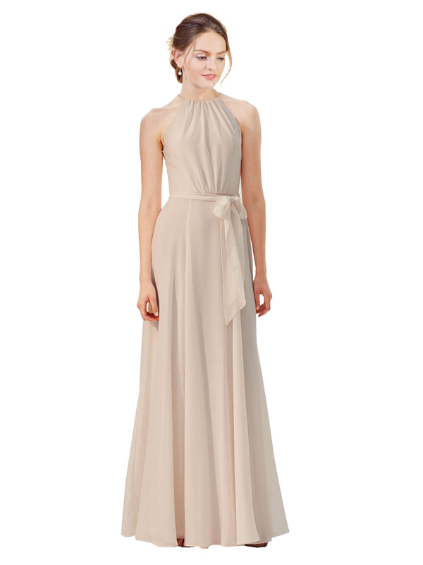 Affordable Long Chiffon A-Line High Neck Bateau Sleeveless Bridesmaid Dress Kendal