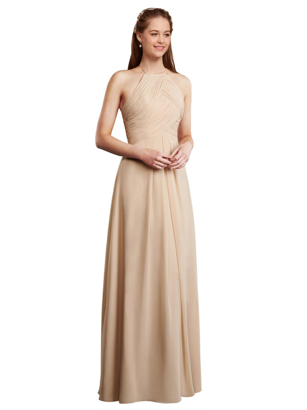 Affordable Carlie Bridesmaid Dress in Champagne Color