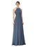 Affordable A-Line Halter Long Chiffon Silver Stone Bridesmaid Dress Krystina