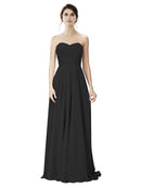 Affordable A-Line Strapless Long Chiffon Black Bridesmaid Dress Danee