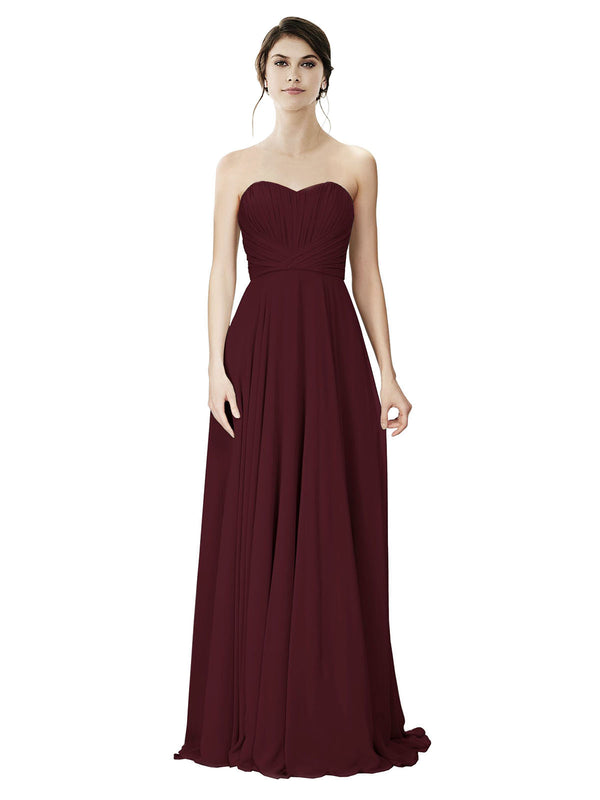 Affordable A-Line Strapless Long Chiffon Burgundy Bridesmaid Dress Danee