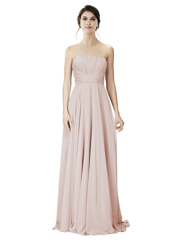 Affordable A-Line Strapless Long Chiffon Cream Pink Bridesmaid Dress Danee