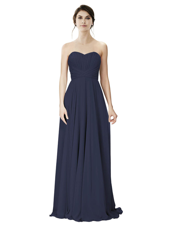 Affordable A-Line Strapless Long Chiffon Dark Navy Bridesmaid Dress Danee