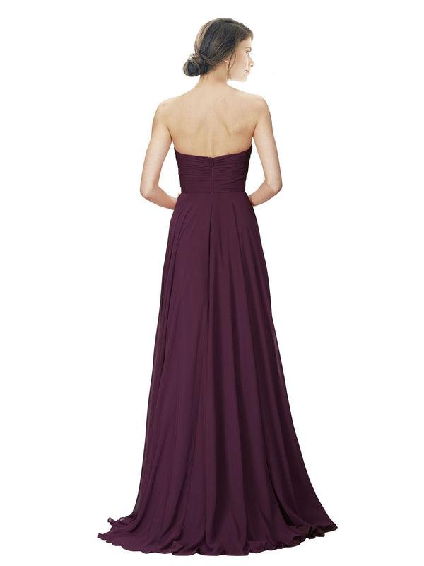 Affordable A-Line Strapless Long Chiffon Grape Bridesmaid Dress Danee