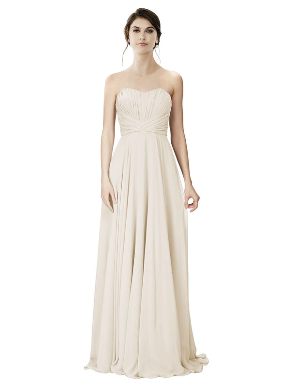 Affordable A-Line Strapless Long Chiffon Light Champagne Bridesmaid Dress Danee