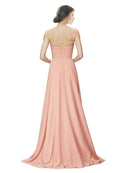 Affordable A-Line Strapless Long Chiffon Peach Bridesmaid Dress Danee