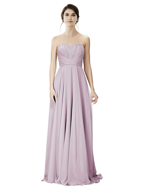 Affordable A-Line Strapless Long Chiffon Primrose Bridesmaid Dress Danee