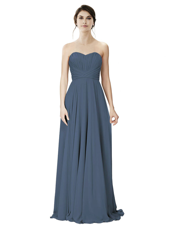 Affordable A-Line Strapless Long Chiffon Silver Stone Bridesmaid Dress Danee
