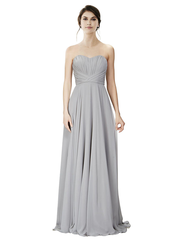 Affordable A-Line Strapless Long Chiffon Silver Bridesmaid Dress Danee