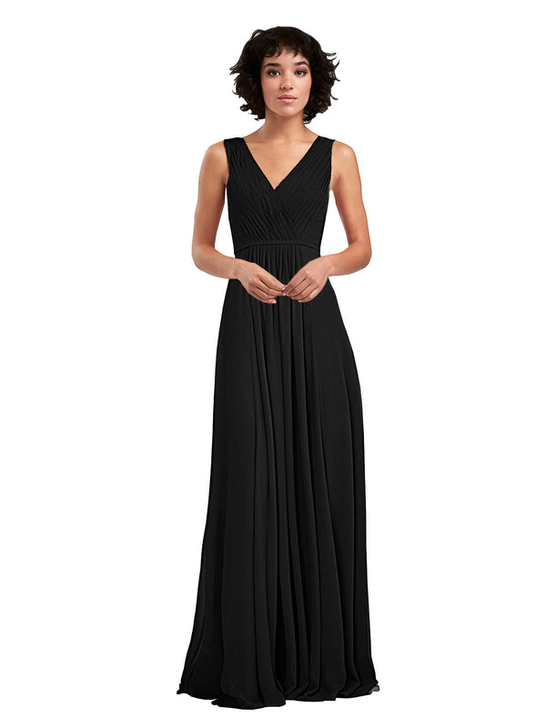 Affordable A-Line V-Neck Long Chiffon Black Bridesmaid Dress Basma