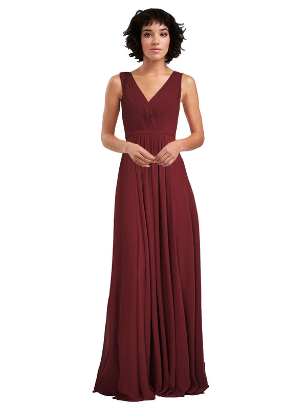 Affordable A-Line V-Neck Long Chiffon Burgundy Bridesmaid Dress Basma