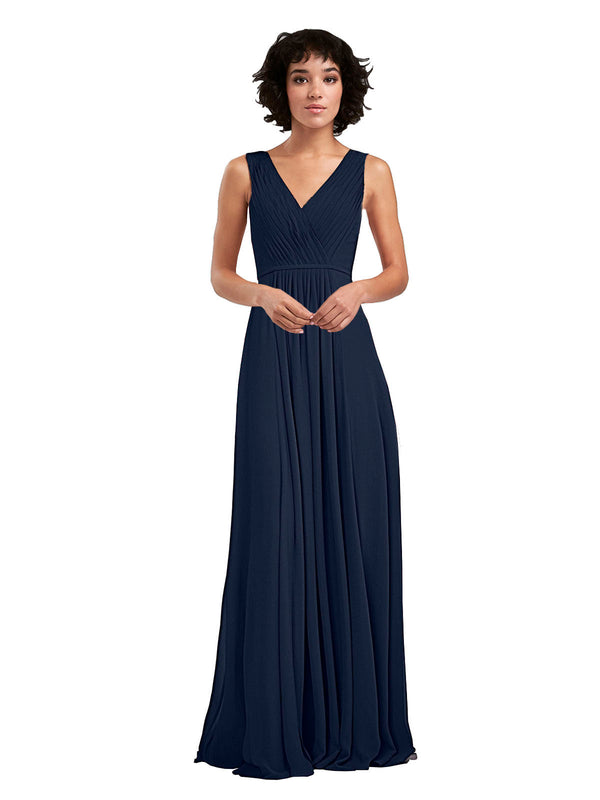 Affordable A-Line V-Neck Long Chiffon Dark Navy Bridesmaid Dress Basma